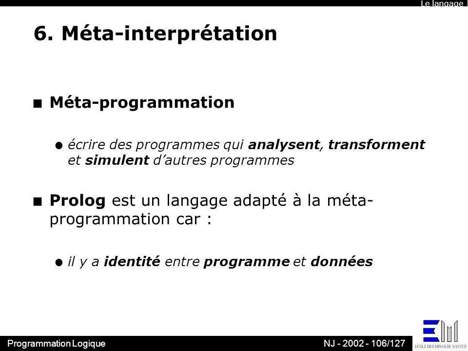 Programmation LogiqueNJ - 2002 - 106/127 6. Méta-interprétation n Méta-programmation l écrire des programmes qui analysent, transforment et simulent d