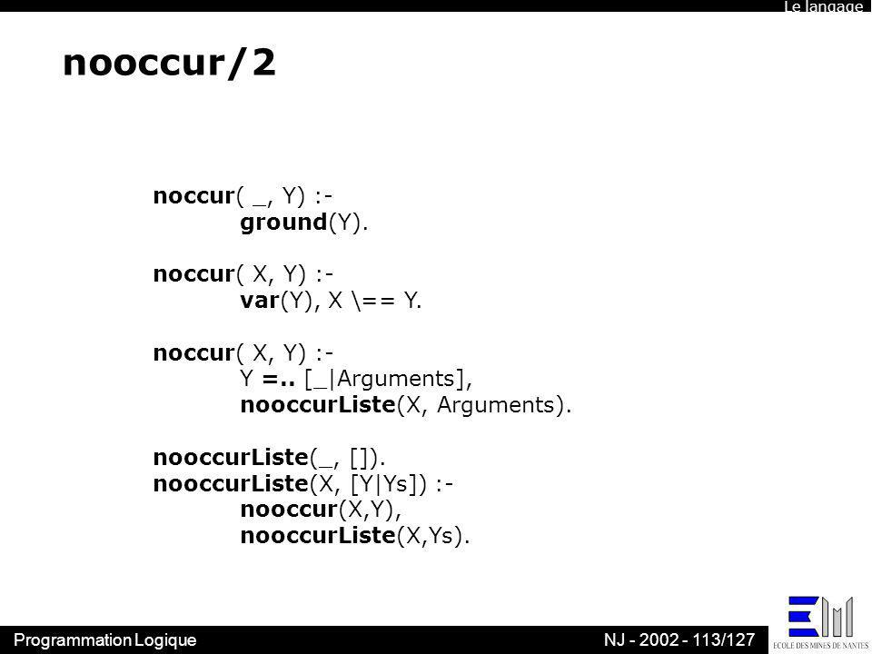 Programmation LogiqueNJ - 2002 - 113/127 nooccur/2 noccur( _, Y) :- ground(Y). noccur( X, Y) :- var(Y), X \== Y. noccur( X, Y) :- Y =.. [_ Arguments],