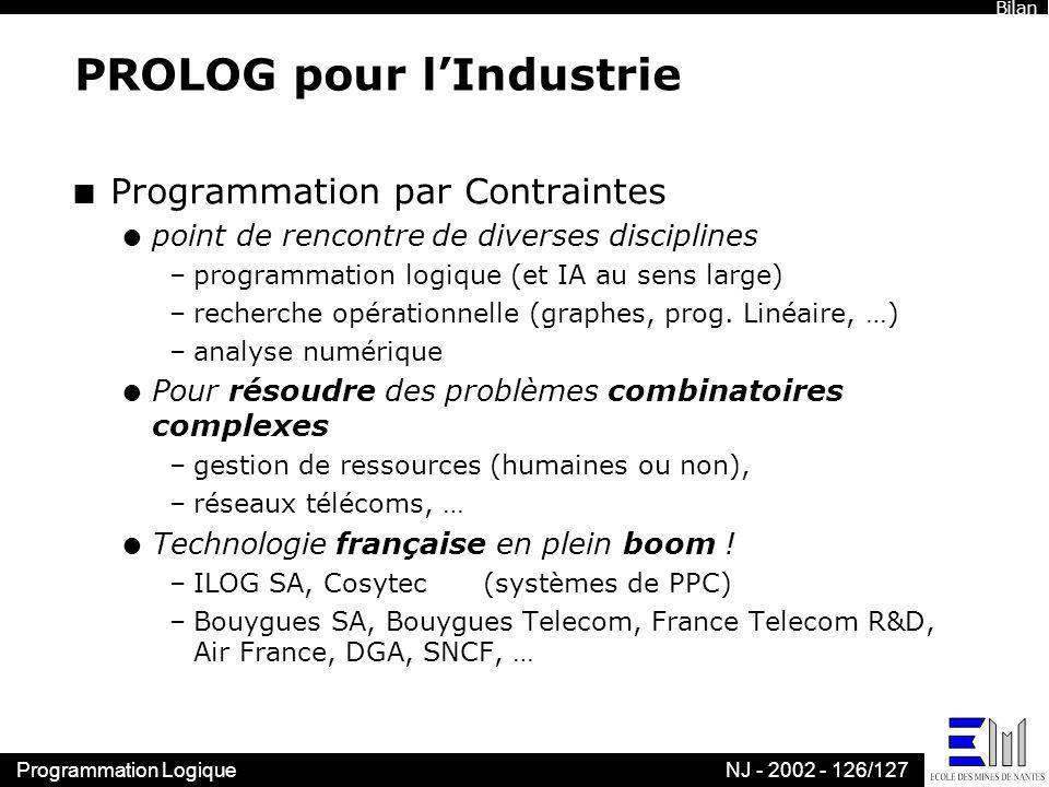 Programmation LogiqueNJ - 2002 - 126/127 PROLOG pour lIndustrie n Programmation par Contraintes l point de rencontre de diverses disciplines –programm