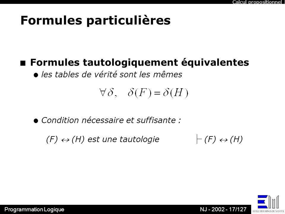 Programmation LogiqueNJ - 2002 - 17/127 Formules particulières n Formules tautologiquement équivalentes l les tables de vérité sont les mêmes l Condit