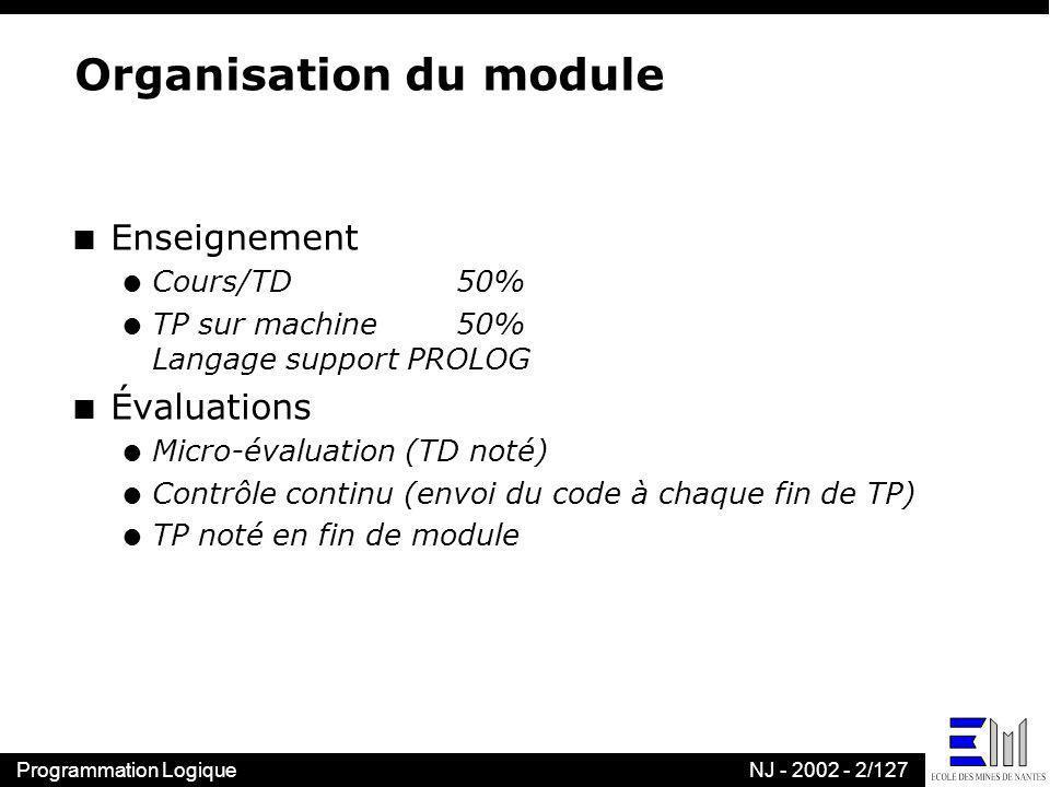 Programmation LogiqueNJ - 2002 - 2/127 Organisation du module n Enseignement l Cours/TD 50% l TP sur machine50% Langage support PROLOG n Évaluations l