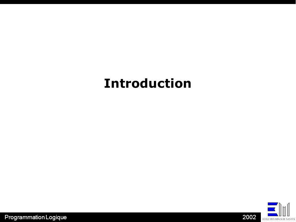 Programmation LogiqueNJ - 2002 - 34/127 Syntaxe n des connecteurs (,,, et ) n des quantificateurs ( et ) n des variables (x,y, …) n des relations (prédicats) (R, S, éclaire, …) n des symboles de fonctions (f, g, …) l les fonctions darité 0 sont appelées des constantes Calcul des prédicats