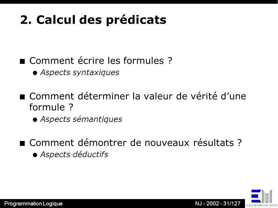 Programmation LogiqueNJ - 2002 - 31/127 2. Calcul des prédicats n Comment écrire les formules ? l Aspects syntaxiques n Comment déterminer la valeur d