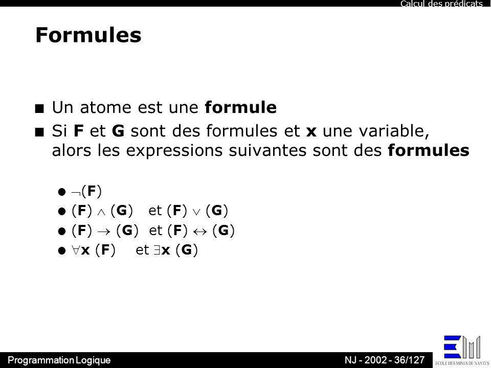 Programmation LogiqueNJ - 2002 - 36/127 Formules n Un atome est une formule n Si F et G sont des formules et x une variable, alors les expressions sui