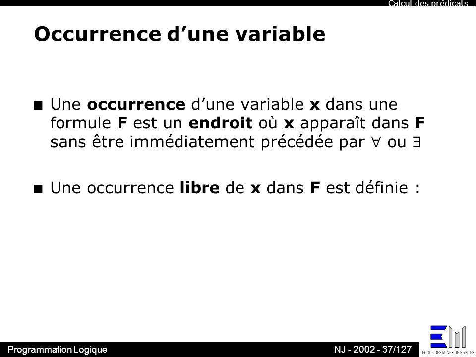 Programmation LogiqueNJ - 2002 - 37/127 Occurrence dune variable n Une occurrence dune variable x dans une formule F est un endroit où x apparaît dans