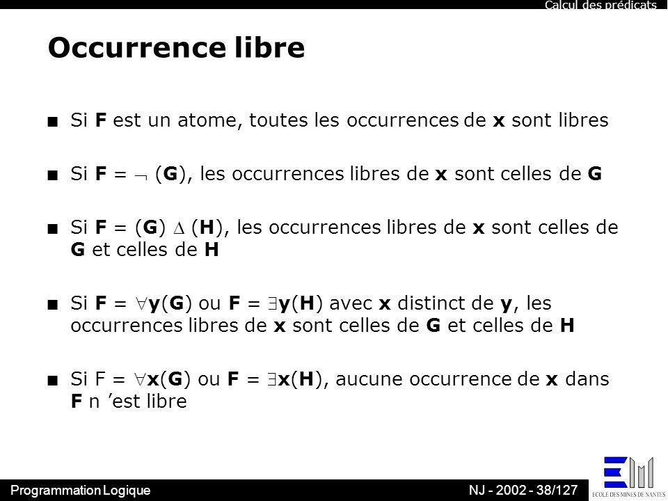 Programmation LogiqueNJ - 2002 - 38/127 Occurrence libre n Si F est un atome, toutes les occurrences de x sont libres n Si F = (G), les occurrences li