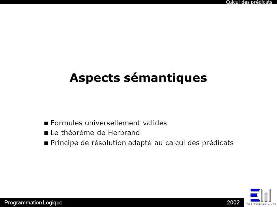 Programmation Logique2002 Aspects sémantiques n Formules universellement valides n Le théorème de Herbrand n Principe de résolution adapté au calcul d
