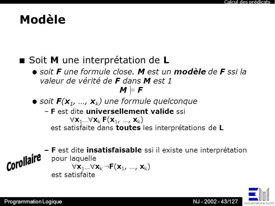 Programmation LogiqueNJ - 2002 - 43/127 Modèle n Soit M une interprétation de L l soit F une formule close. M est un modèle de F ssi la valeur de véri