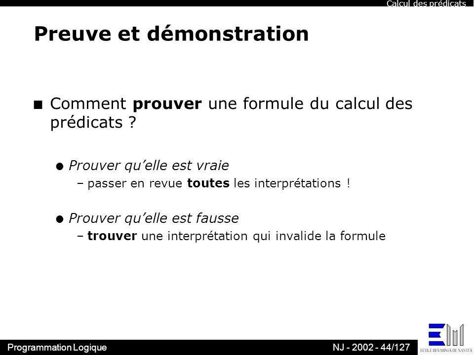Programmation LogiqueNJ - 2002 - 44/127 Preuve et démonstration n Comment prouver une formule du calcul des prédicats ? l Prouver quelle est vraie –pa