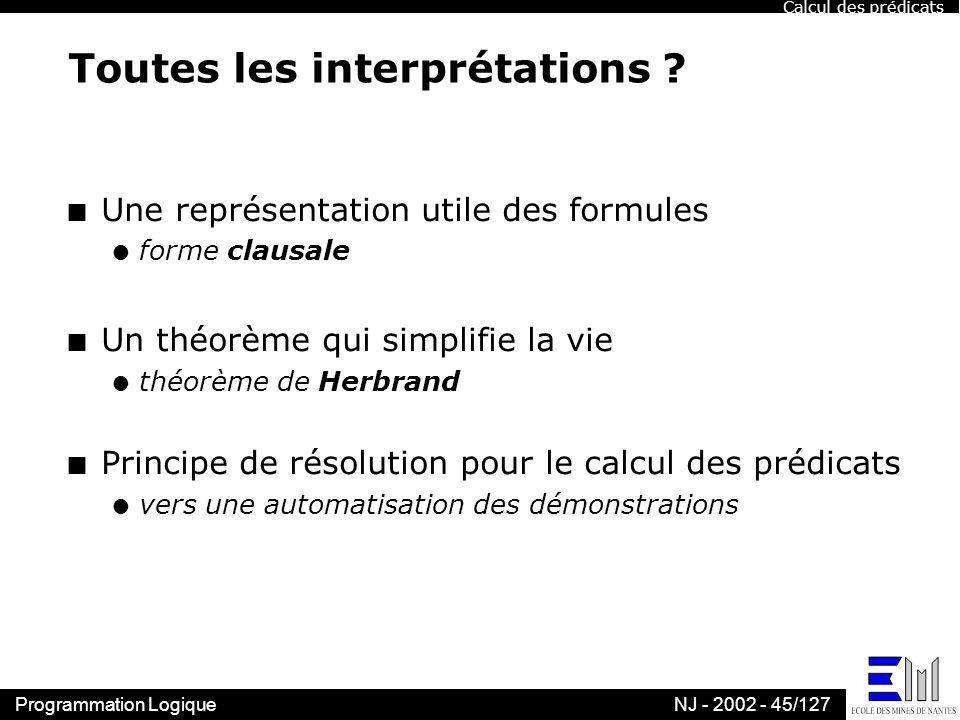 Programmation LogiqueNJ - 2002 - 45/127 Toutes les interprétations ? n Une représentation utile des formules l forme clausale n Un théorème qui simpli