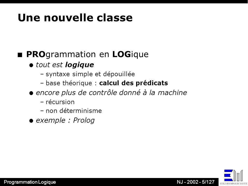 Programmation LogiqueNJ - 2002 - 5/127 Une nouvelle classe n PROgrammation en LOGique l tout est logique –syntaxe simple et dépouillée –base théorique