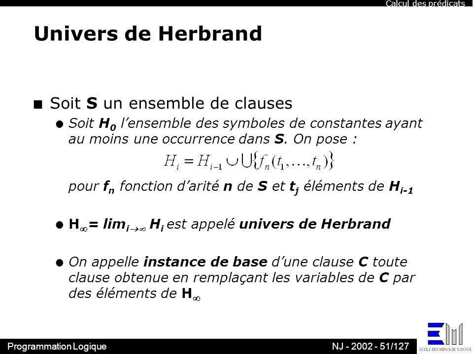 Programmation LogiqueNJ - 2002 - 51/127 Univers de Herbrand n Soit S un ensemble de clauses l Soit H 0 lensemble des symboles de constantes ayant au m