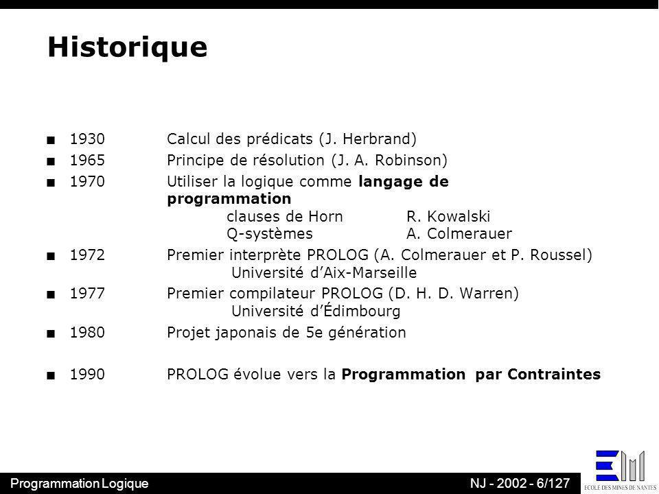 Programmation LogiqueNJ - 2002 - 27/127 n Principe de résolution (Robinson) l Définitions –littéral positif ou négatif –une clause est une disjonction de littéraux –la résolvante de C 1 = l C 1 et de C 2 = l C 2 est C 1 C 2 l Principe de résolution l C 1, l C 2 réso C 1 C 2 –le principe de résolution est valide –le principe de résolution généralise les autres règles Une autre règle dinférence Calcul propositionnel