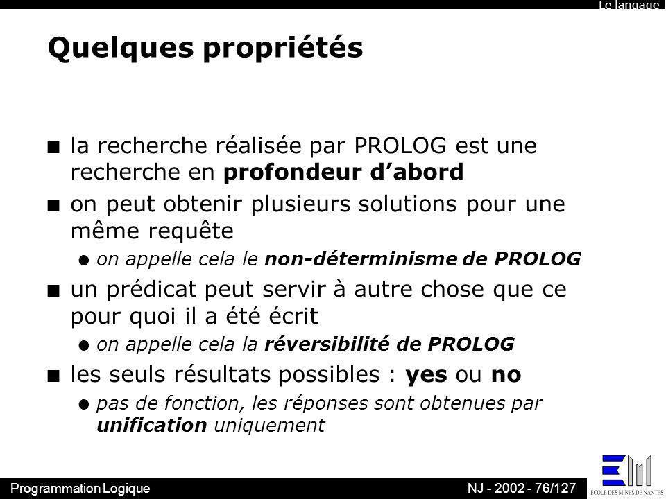 Programmation LogiqueNJ - 2002 - 76/127 Quelques propriétés n la recherche réalisée par PROLOG est une recherche en profondeur dabord n on peut obteni