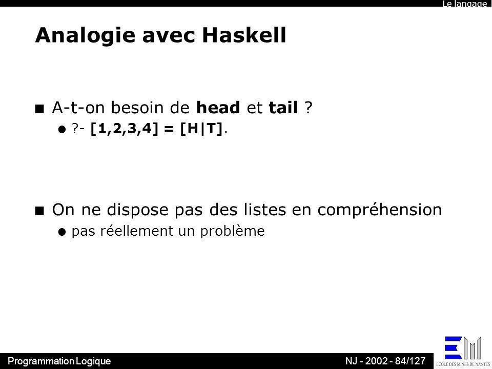 Programmation LogiqueNJ - 2002 - 84/127 Analogie avec Haskell n A-t-on besoin de head et tail ? l ?- [1,2,3,4] = [H|T]. n On ne dispose pas des listes