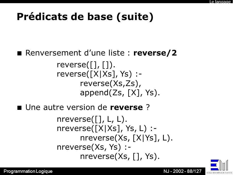 Programmation LogiqueNJ - 2002 - 88/127 Prédicats de base (suite) n Renversement dune liste : reverse/2 reverse([], []). reverse([X|Xs], Ys) :- revers