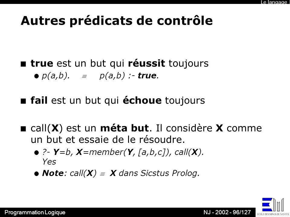 Programmation LogiqueNJ - 2002 - 96/127 Autres prédicats de contrôle n true est un but qui réussit toujours l p(a,b). p(a,b) :- true. n fail est un bu