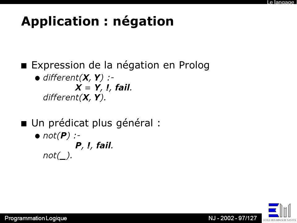 Programmation LogiqueNJ - 2002 - 97/127 Application : négation n Expression de la négation en Prolog l different(X, Y) :- X = Y, !, fail. different(X,