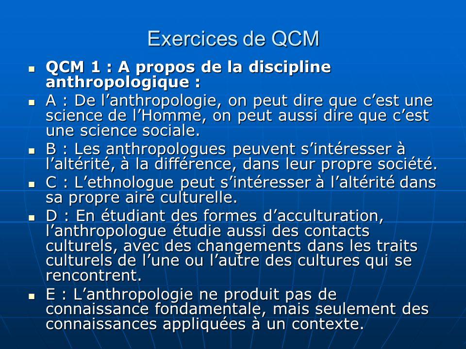 Exercices de QCM QCM 1 : A propos de la discipline anthropologique : QCM 1 : A propos de la discipline anthropologique : A : De lanthropologie, on peut dire que cest une science de lHomme, on peut aussi dire que cest une science sociale.