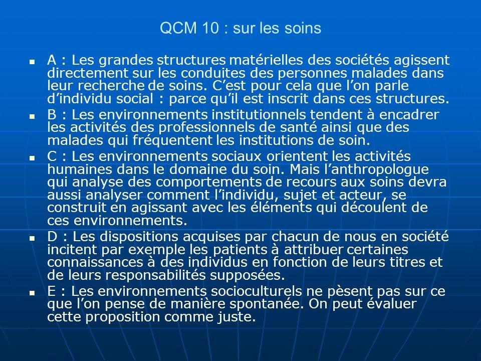 QCM 10 : sur les soins A : Les grandes structures matérielles des sociétés agissent directement sur les conduites des personnes malades dans leur recherche de soins.