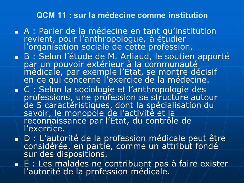 QCM 11 : sur la médecine comme institution A : Parler de la médecine en tant quinstitution revient, pour lanthropologue, à étudier lorganisation sociale de cette profession.