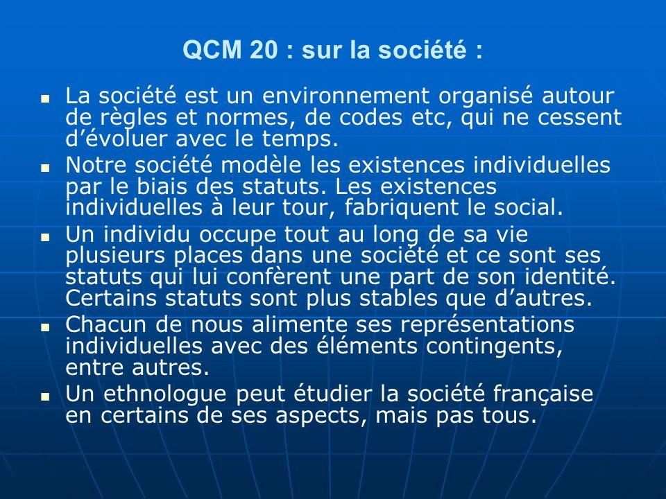 QCM 20 : sur la société : La société est un environnement organisé autour de règles et normes, de codes etc, qui ne cessent dévoluer avec le temps.