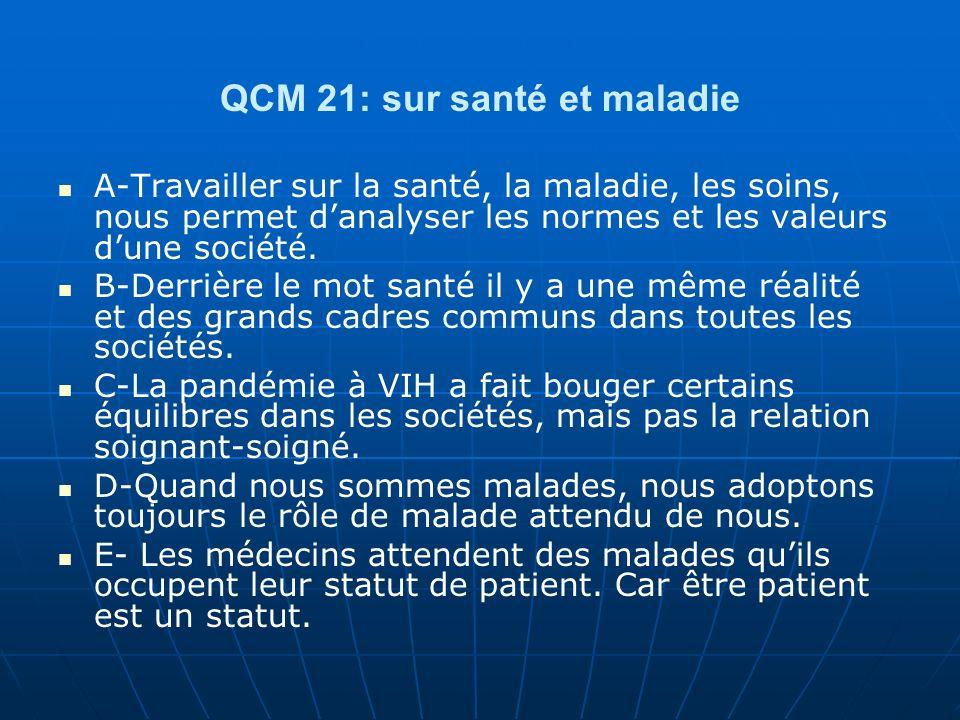 QCM 21: sur santé et maladie A-Travailler sur la santé, la maladie, les soins, nous permet danalyser les normes et les valeurs dune société.