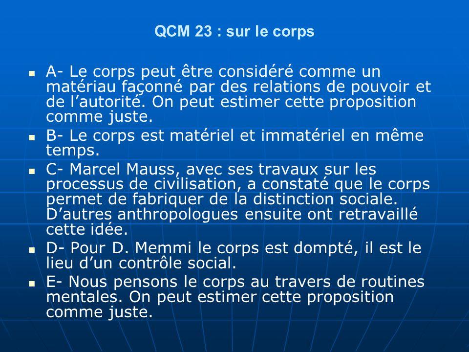 QCM 23 : sur le corps A- Le corps peut être considéré comme un matériau façonné par des relations de pouvoir et de lautorité.