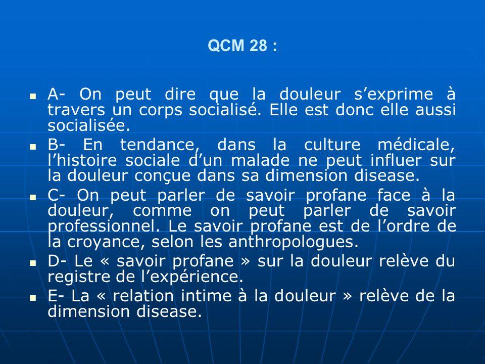 QCM 28 : A- On peut dire que la douleur sexprime à travers un corps socialisé.