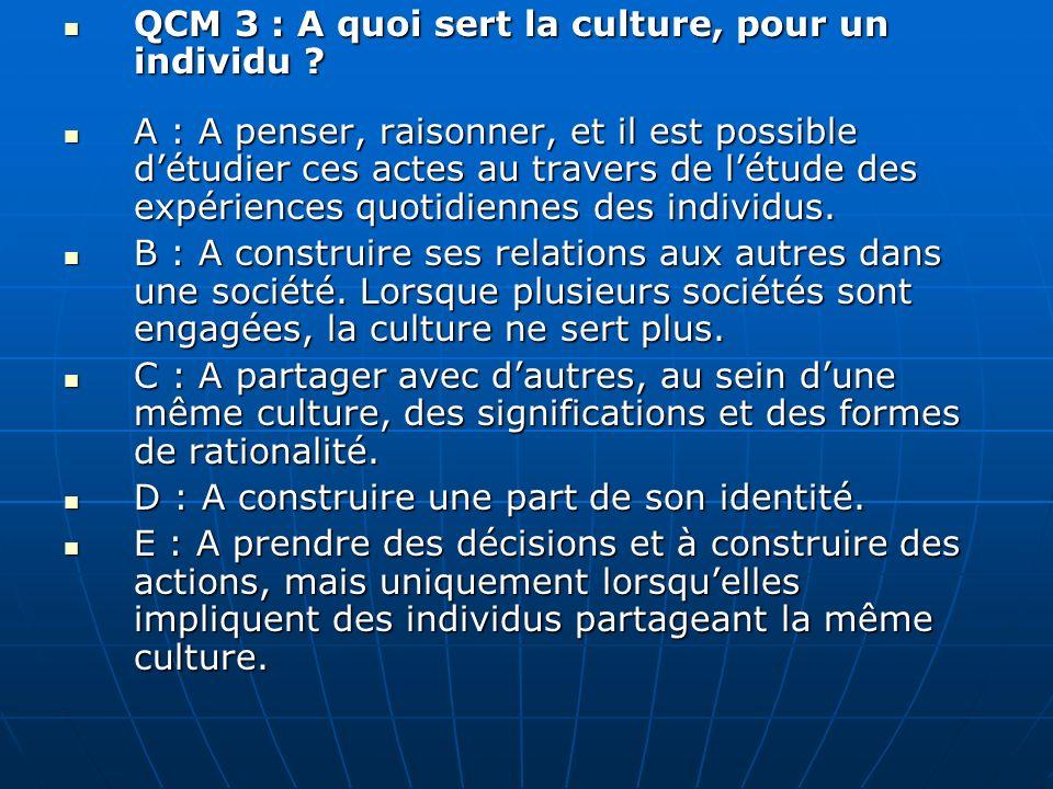 QCM 14 : pour lanthropologie : A : Nos statuts participent à nous conférer une identité.