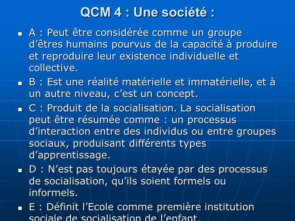QCM 4 : Une société : A : Peut être considérée comme un groupe dêtres humains pourvus de la capacité à produire et reproduire leur existence individuelle et collective.