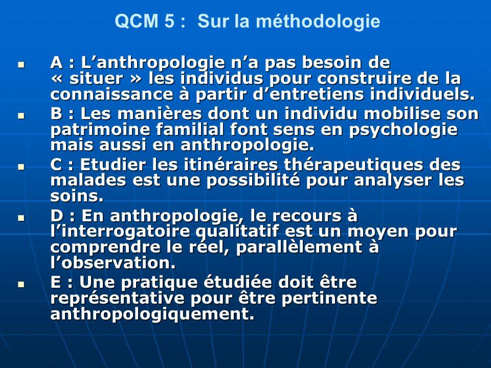 QCM 26 Pour lanthropologie : A- Un itinéraire thérapeutique nest pas un processus.