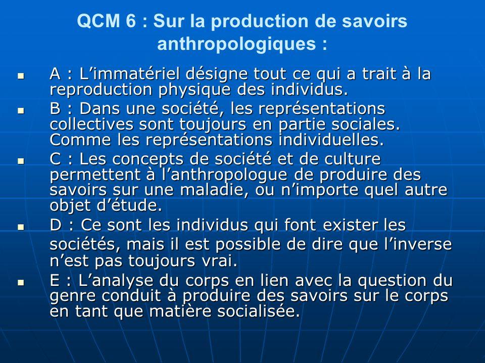 QCM 27 : sur le corps : A- On peut dire que lindividu est porteur dun corps socialisé, cest-à-dire quil est marqué sous différentes formes, par les environnements socioculturels.
