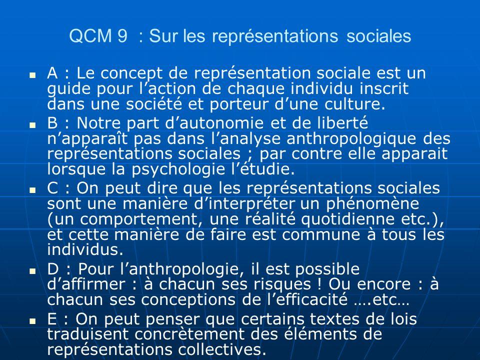 QCM 30 : questions diverses A : Cest le point de vue des acteurs qui nous intéresse, ce que nous appelons les catégories « émic ».