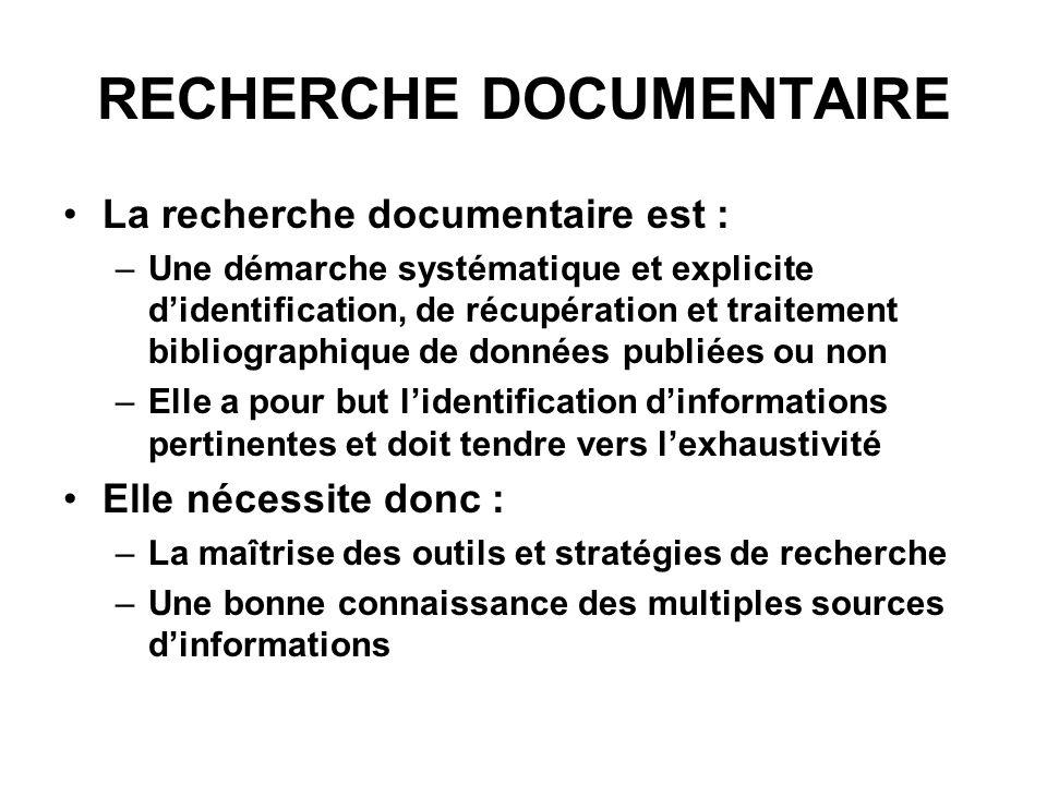 RECHERCHE DOCUMENTAIRE La recherche documentaire est : –Une démarche systématique et explicite didentification, de récupération et traitement bibliogr