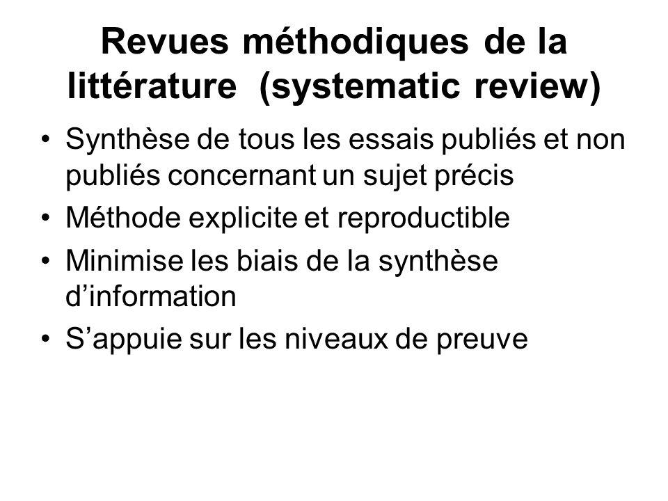 Revues méthodiques de la littérature (systematic review) Synthèse de tous les essais publiés et non publiés concernant un sujet précis Méthode explici