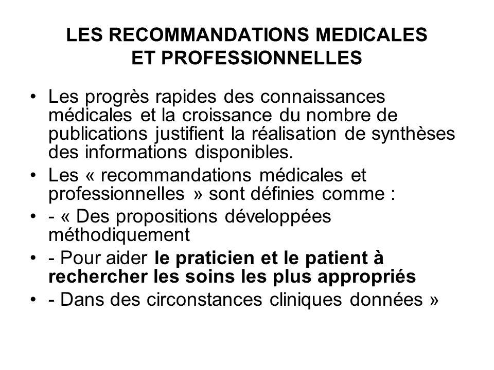 LES RECOMMANDATIONS MEDICALES ET PROFESSIONNELLES Les progrès rapides des connaissances médicales et la croissance du nombre de publications justifient la réalisation de synthèses des informations disponibles.