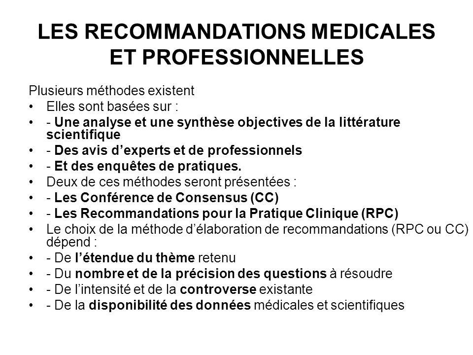 LES RECOMMANDATIONS MEDICALES ET PROFESSIONNELLES Plusieurs méthodes existent Elles sont basées sur : - Une analyse et une synthèse objectives de la littérature scientifique - Des avis dexperts et de professionnels - Et des enquêtes de pratiques.