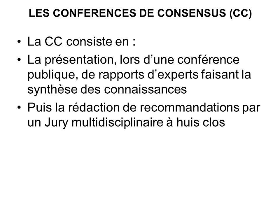 LES CONFERENCES DE CONSENSUS (CC) La CC consiste en : La présentation, lors dune conférence publique, de rapports dexperts faisant la synthèse des connaissances Puis la rédaction de recommandations par un Jury multidisciplinaire à huis clos