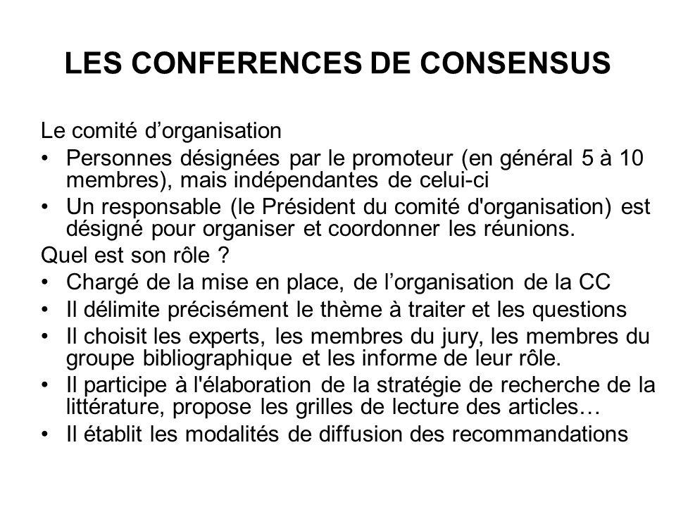 LES CONFERENCES DE CONSENSUS Le comité dorganisation Personnes désignées par le promoteur (en général 5 à 10 membres), mais indépendantes de celui-ci