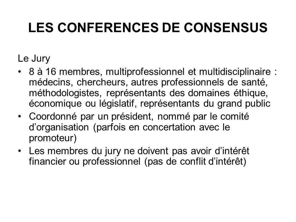 LES CONFERENCES DE CONSENSUS Le Jury 8 à 16 membres, multiprofessionnel et multidisciplinaire : médecins, chercheurs, autres professionnels de santé,