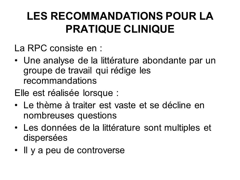 LES RECOMMANDATIONS POUR LA PRATIQUE CLINIQUE La RPC consiste en : Une analyse de la littérature abondante par un groupe de travail qui rédige les rec