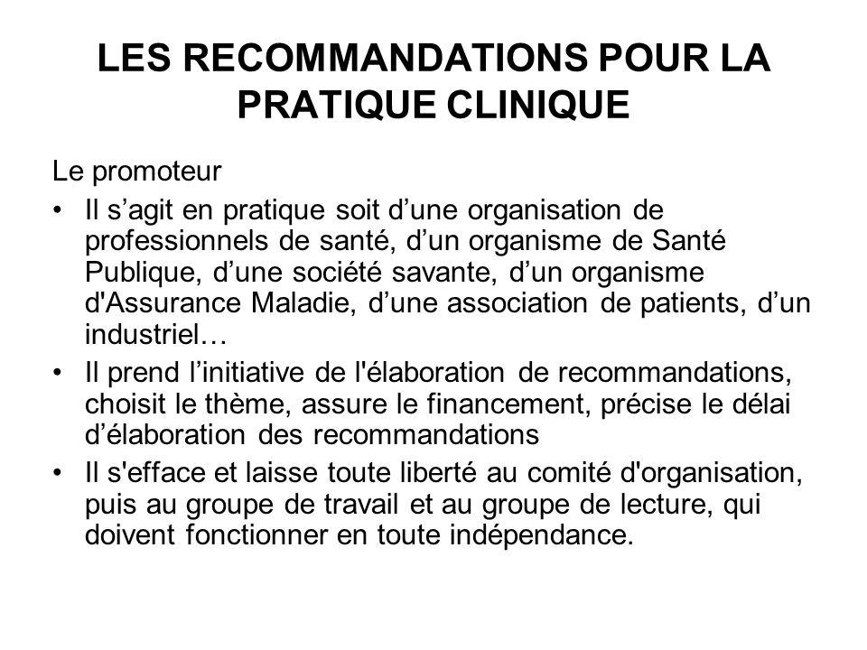LES RECOMMANDATIONS POUR LA PRATIQUE CLINIQUE Le promoteur Il sagit en pratique soit dune organisation de professionnels de santé, dun organisme de Sa