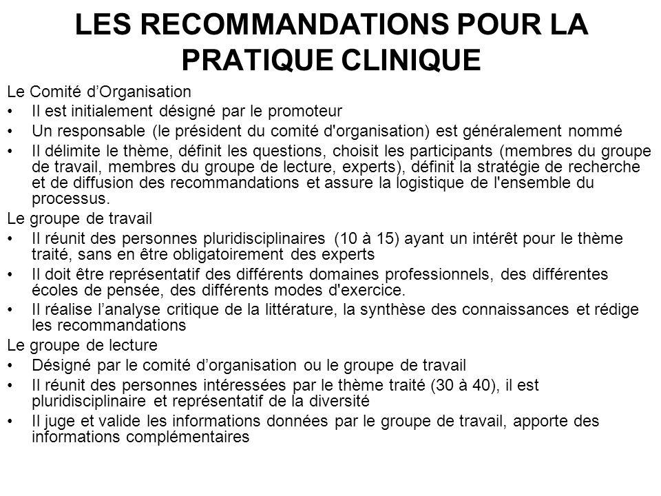 LES RECOMMANDATIONS POUR LA PRATIQUE CLINIQUE Le Comité dOrganisation Il est initialement désigné par le promoteur Un responsable (le président du com