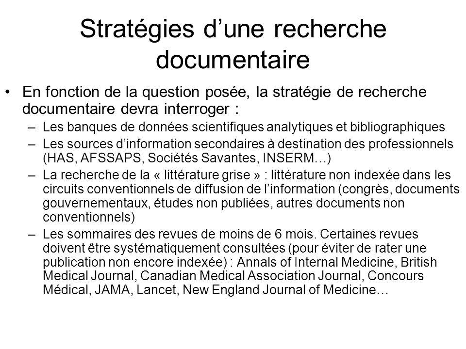 Stratégies dune recherche documentaire En fonction de la question posée, la stratégie de recherche documentaire devra interroger : –Les banques de don