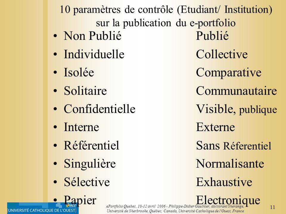 10 ePortfolio Quebec, 10-12 avril 2006 - Philippe-Didier Gauthier, doctorant Sherange, Université de Sherbrooke, Québec, Canada, Université Catholique