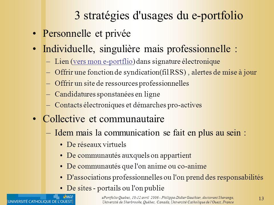 12 ePortfolio Quebec, 10-12 avril 2006 - Philippe-Didier Gauthier, doctorant Sherange, Université de Sherbrooke, Québec, Canada, Université Catholique