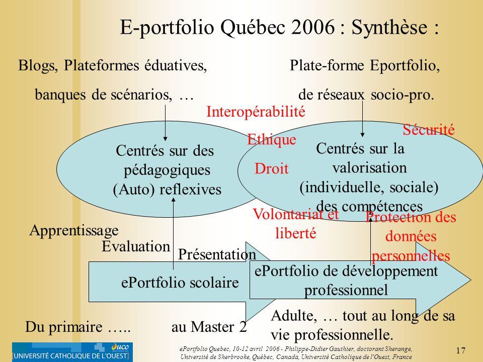 16 ePortfolio Quebec, 10-12 avril 2006 - Philippe-Didier Gauthier, doctorant Sherange, Université de Sherbrooke, Québec, Canada, Université Catholique