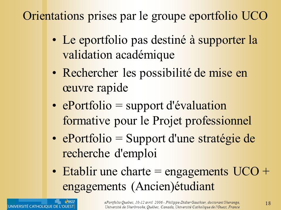 17 ePortfolio Quebec, 10-12 avril 2006 - Philippe-Didier Gauthier, doctorant Sherange, Université de Sherbrooke, Québec, Canada, Université Catholique