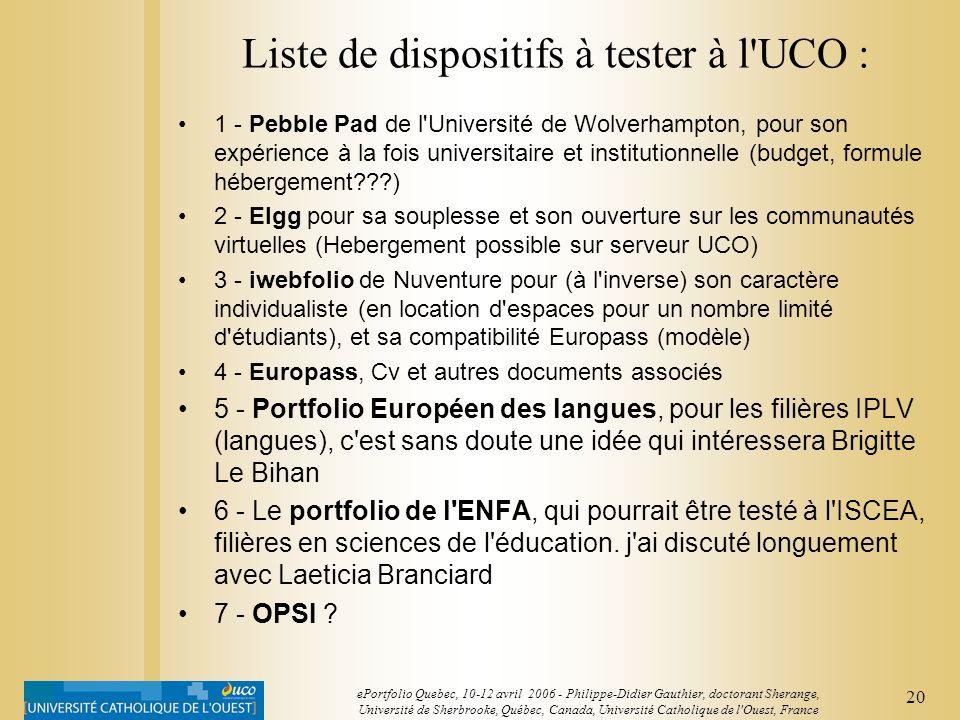 19 ePortfolio Quebec, 10-12 avril 2006 - Philippe-Didier Gauthier, doctorant Sherange, Université de Sherbrooke, Québec, Canada, Université Catholique